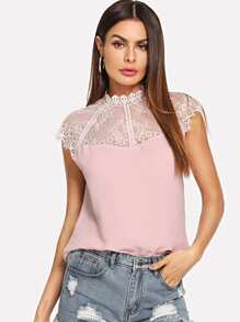 Sheer Lace Neck Top