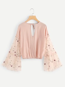 Keyhole Neck Flower Embroidered Top