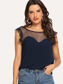 Dot Mesh Yoke Eyelash Lace Trim Top