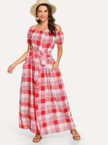Button & Pocket Front Belted Plaid Dress