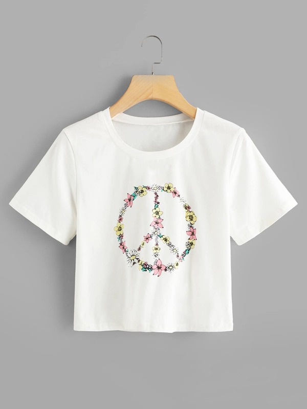 Floral Peace Symbol Print T Shirt Sheinsheinside
