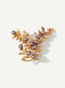 Faux Pearl Leaf Shaped Brooch
