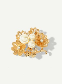 Faux Pearl Decorated Flower Brooch