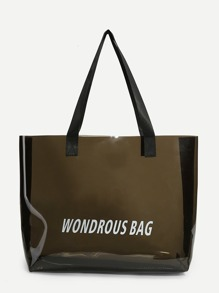 Clear Slogan Print Tote Bag