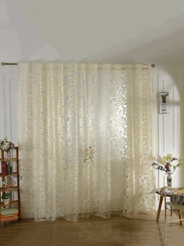 077790395d 3D Floral Grommet Sheer Curtain 1pc | SHEIN IN