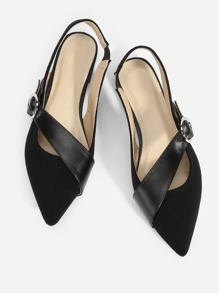 Contrast Buckle Pointed Toe Flats