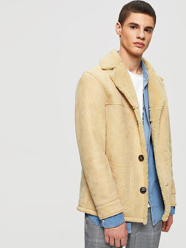 02e9af8f09 Men Button Up Faux Fur Inside Coat   SHEIN