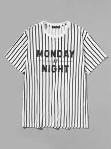 Men Letter Front Vertical Striped Tee