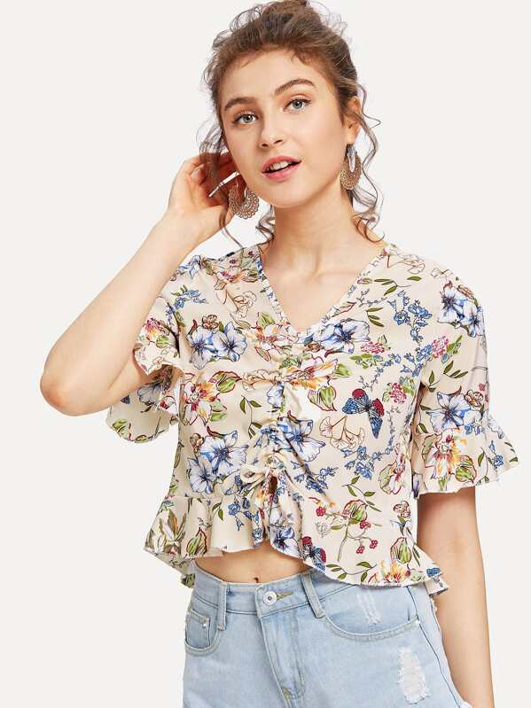 94452684d5f Floral Print Drawstring Front Ruffle Crop Top   SHEIN IN