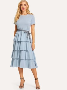 Solid Layered Tie Waist Dress