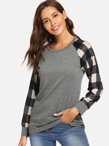 Contrast Plaid Tee