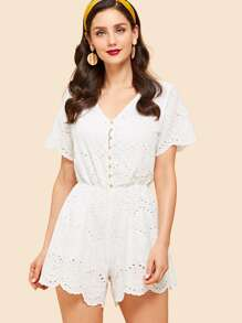 Button Front Embroidered Eyelet Scallop Jumpsuit