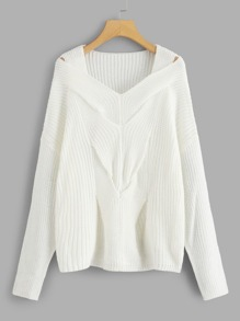 Drop Shoulder Solid Twist Jumper