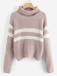Raglan Sleeve Rolled Neck Striped Sweater