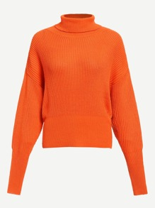 Neon Orange High Neck Gigot Sleeve Jumper
