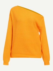 Asymmetrical Neck Solid Sweater
