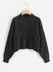 Drop Shoulder Flecked Crop Sweater