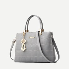SHEIN | Seam Detail Satchel Bag | Goxip