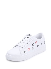Lace Up Emoji Print Sneakers