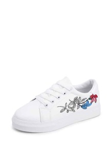 Floral Detail Lace Up Sneakers