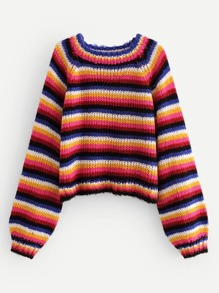Multi-Stripe Raglan Sleeve Mohair Jumper