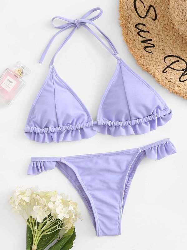 3897e3a07c6a Slätt Veckad Remsa Bikini Blåröd Badkläder | SHEIN SE