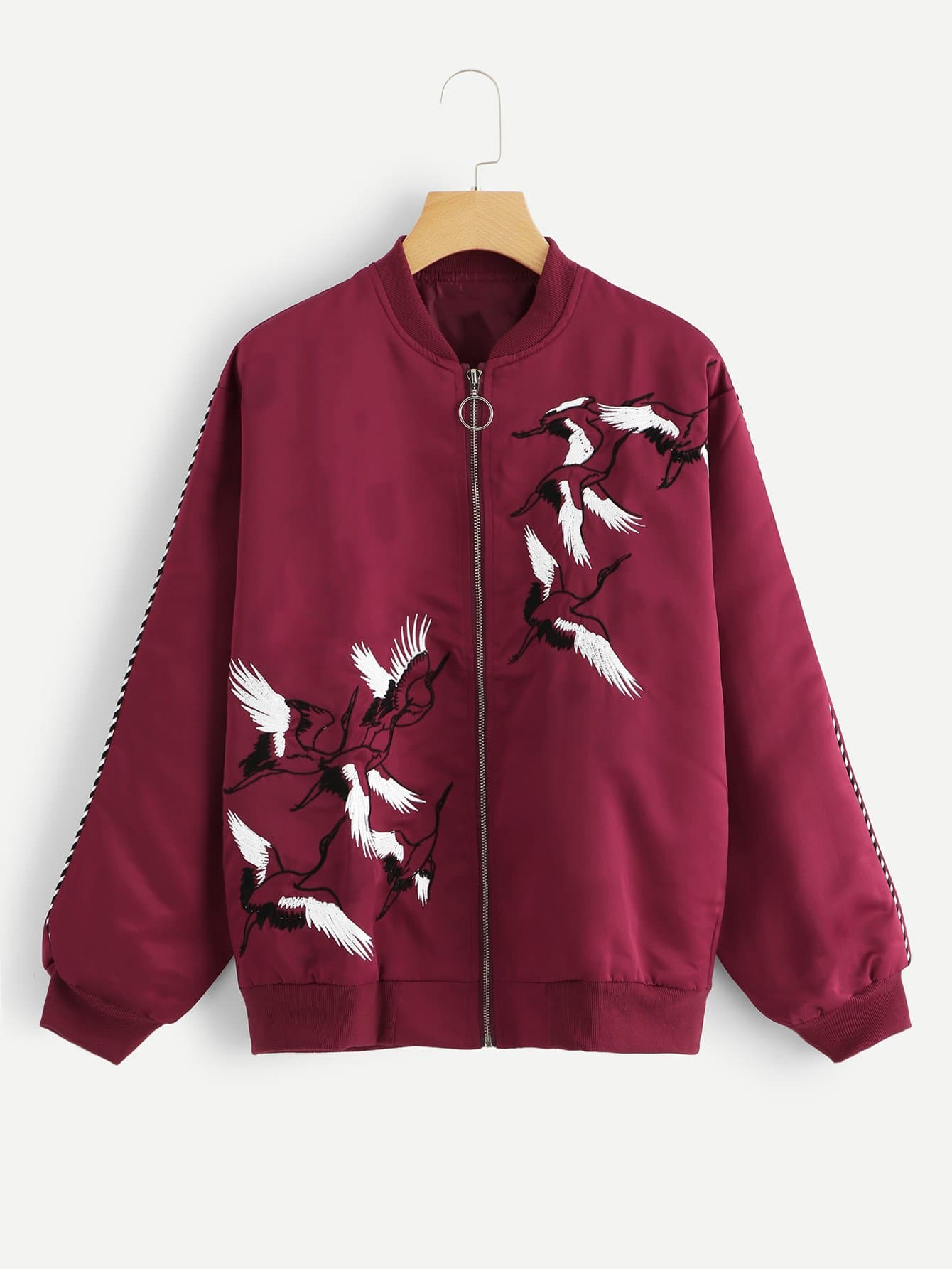 Crane Embroidered Zip Up Jacket Crane Embroidered Zip Up Jacket