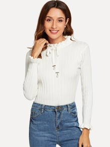Frill Trim Tie Neck Ribbed Sweater