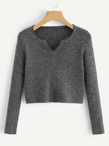 v Cut Neck Ribbed Crop Sweater