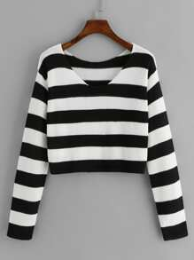 V Neckline Striped Jumper
