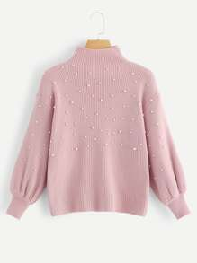 Pearl Beaded Lantern Sleeve Ribbed Sweater