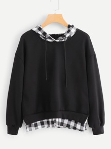 Contrast Checked Drawstring Hoodie