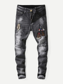 Men Patched Washed Destroyed Jeans