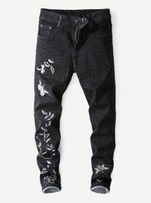 Men Embroidery Skinny Jeans