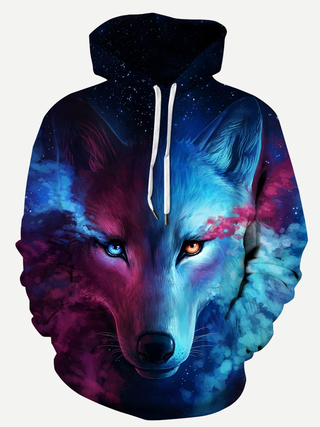 c052a44b15e Men 3D Wolf Print Hooded Sweatshirt | SHEIN IN