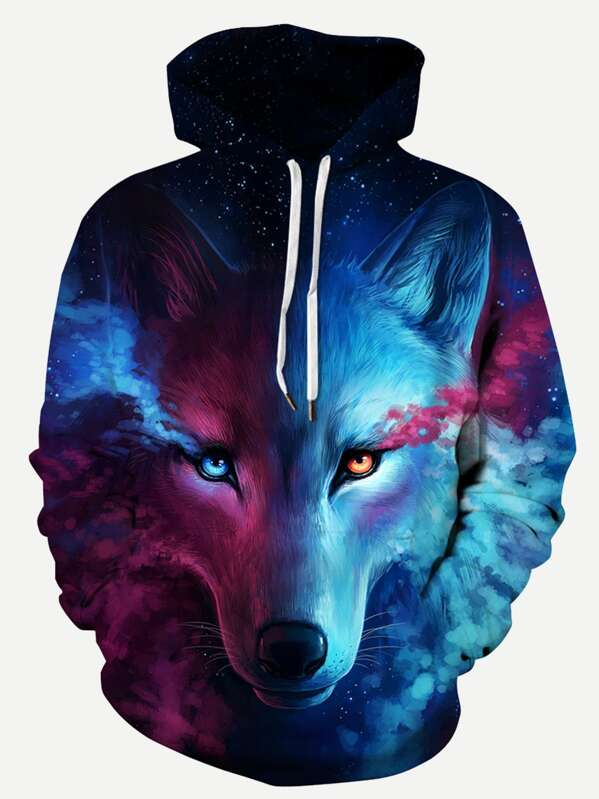 baf47fcad Men 3D Wolf Print Hooded Sweatshirt | SHEIN IN