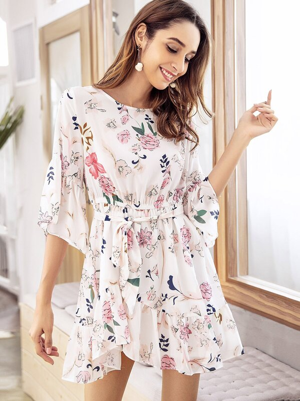 359133395cf Cheap Floral Print Flounce Sleeve Belted Dress for sale Australia ...