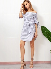 Striped Knot Sleeve Belted Dress