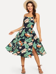 Floral Print Criss Cross Knot Back Split Dress