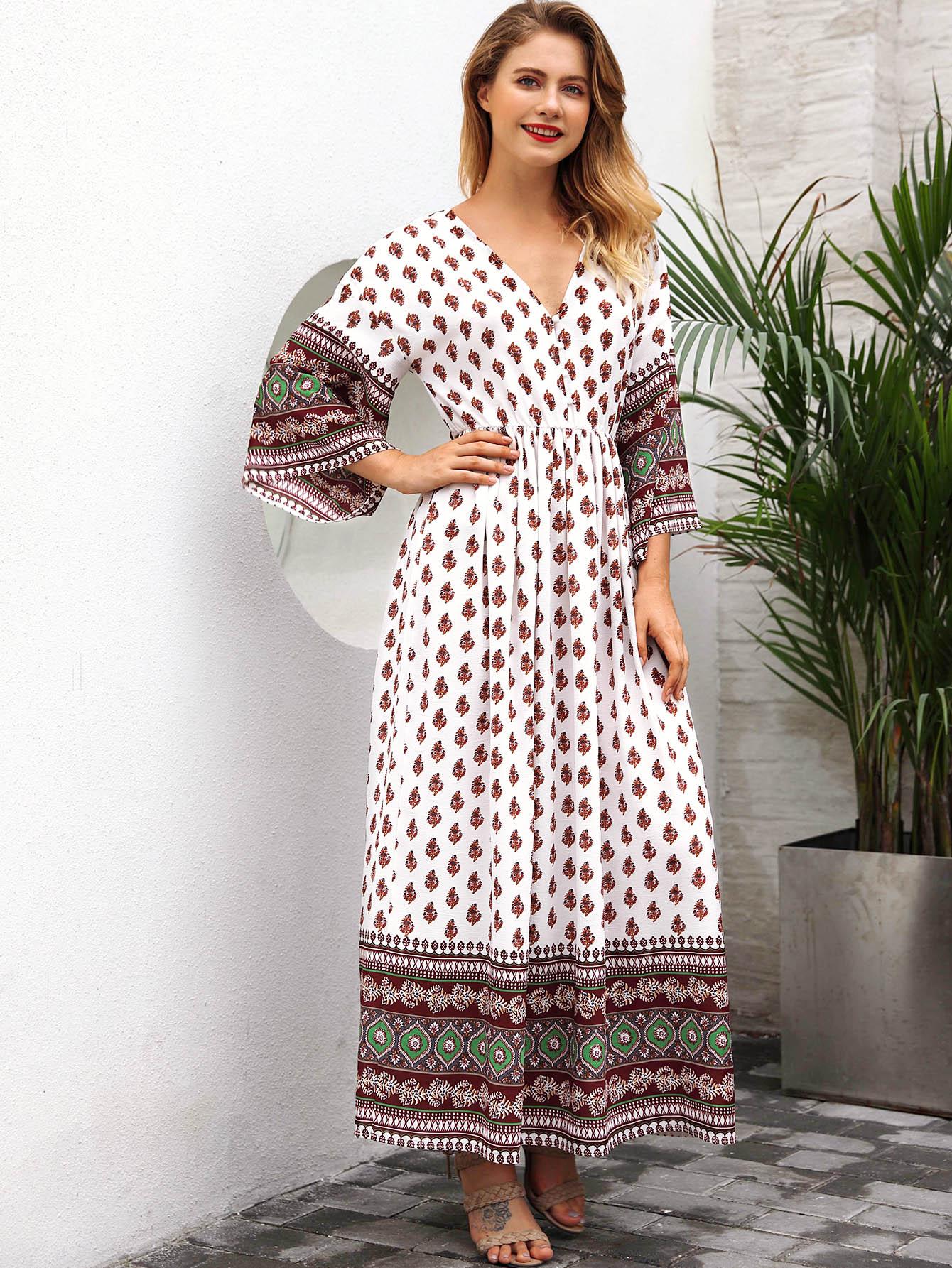 Kleid mit Blumen Muster und geraffte Taille | SHEIN