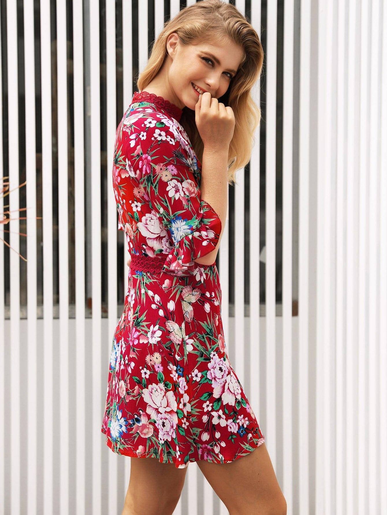 elegante Floreali con pizzo a contrasto Multicolore Vestiti-Italian  SheIn(Sheinside) 27f2f9571f3
