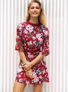 Lace Panel Flounce Sleeve Floral Print Dress