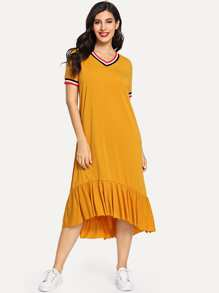 Striped Trim Ruffle Hem Dress