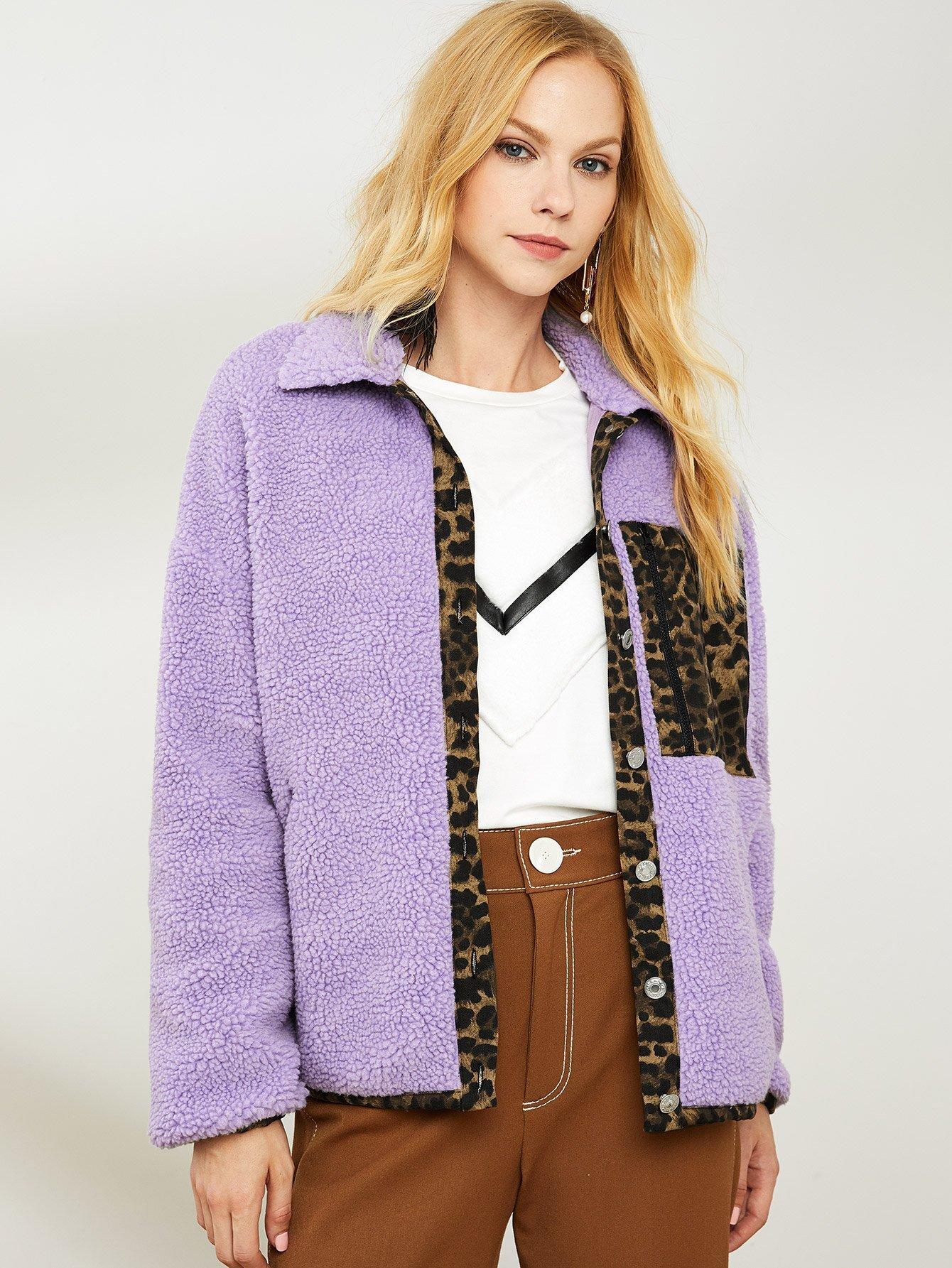 Leopard Pocket Fleece Teddy Coat Leopard Pocket Fleece Teddy Coat