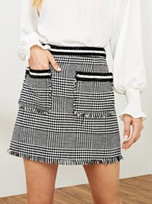 Fringe Hem Pocket Front Houndstooth Tweed Skirt
