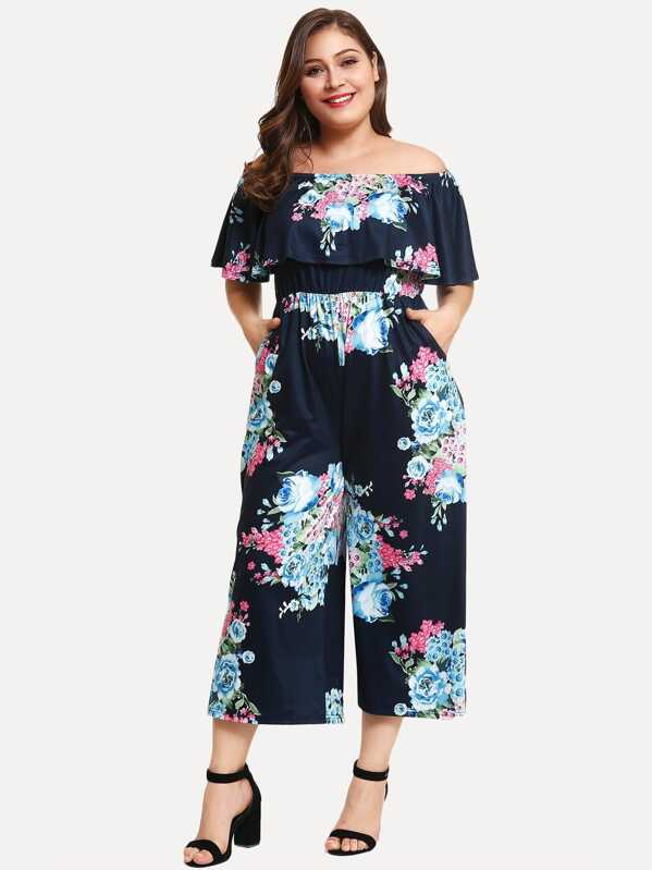 6cb3663973f Cheap Plus Ruffle Floral Print Jumpsuit for sale Australia