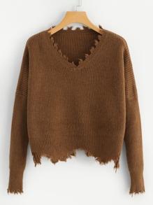 Raw Hem V Neck Sweater