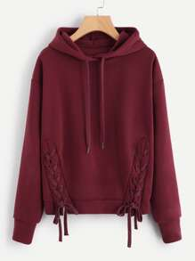 Plus Lace Up Solid Hooded Sweatshirt