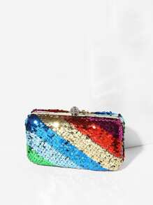 Color Sequins Clutch With Chain