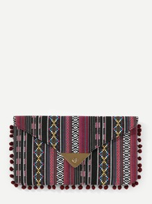 Pom Pom Detail Striped Flap Cultch